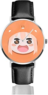 GASDFEFSD Unisex Men Women Business Cool Himouto! Umaru-Chan Anime Watches Quartz Leather Watch with Black Leather Band Gift