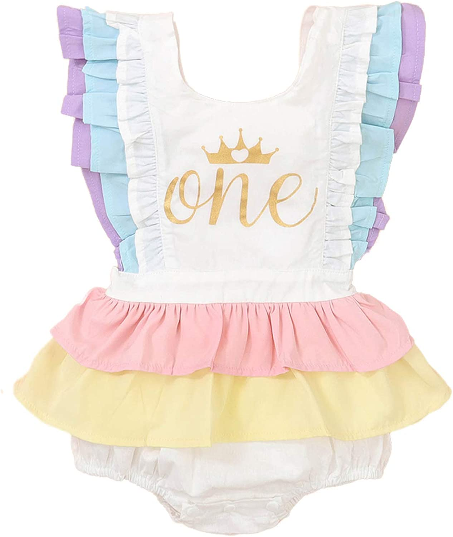 Newborn Infant Baby Girl Nippon regular agency One Romp Ruffle 1st Surprise price Birthday Sleeveless