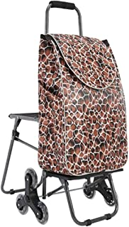 LQBDJPYS Shopping Cart Climbing Stairs Folding Luggage Cart Trolley Car with Chairs Portable Thick Wear-Resistant Waterpro...