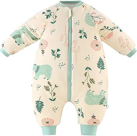 Bebé Saco de Dormir para Niños Niñas Manga Separable con Piernas Algodón Pijama Cremallera Mamelucos Mono Invierno Traje de dormir 0-1.5 ...