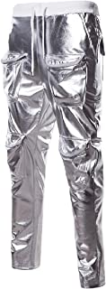 QUHS Men Punk Pure Mid-rise Shinny Hip-hop Relaxed-Fit Training Running Trousers