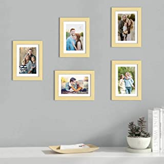 Art Street Set of 5 Beige Wall Photo Frame, Picture Frame for Home Decor with Free Hanging Accessories (Size -6x8 Inchs)