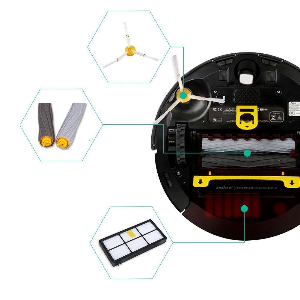 iAmoy Kit de cepillos de filtros Compatible with Robot Roomba series 800 y 900 980 966 960 865 870 875 876 kit de recambio: Amazon.es: Hogar