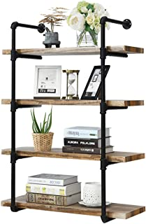 Giantex 4 Tier Rustic Wall Shelves with Wood, Industrial Pipe Wind Hanging Wall Shelf for Bedrooms, Kitchens Coffee Shops or Bar Storage