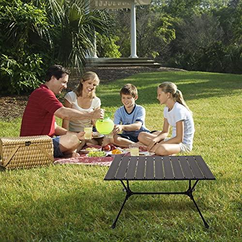 Mesa de camping portátil, pequeña mesa plegable ultraligera con mesa de aluminio y bolsa de transporte para exteriores, playa, barbacoa, picnic, cocina, festival, interior, oficina (negro)