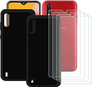 TTJ [2 st. svart fodral för Samsung Galaxy M01S [4 stycken] HD pansarglas, mobiltelefonfodral silikon skyddande fodral TPU...