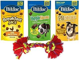 Bil-Jac Soft Treats 3 Flavor Sampler Bundle with Toy, 1 each: Breakfast Jacs, YappleNanas, PBnanas (4 Ounces)