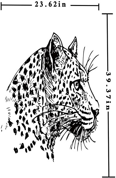 Homenon 窗口电影装饰玻璃电影 3D 打印手绘美洲虎简介野生动物丛林动物非洲狩猎主题艺术品 W15 7xL63in 无胶静态附着玻璃贴纸黑色白色