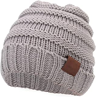 Aigemi Kids Baby Toddler Cable Ribbed Knit Children's Winter Hat Beanie Cap (Light Grey)