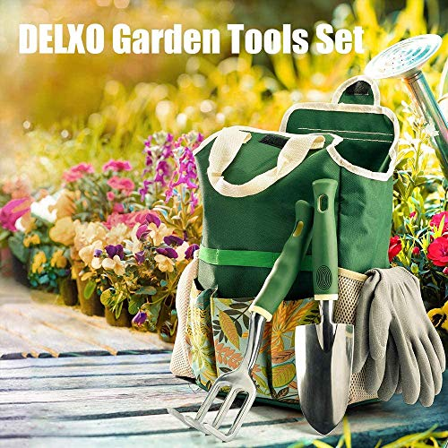 WOHOUS Garden Tool Set, 9 Piece Stainless Steel Heavy Duty Garden Tools Set with Storage Bag, Garden Gloves,Shovels,Weeder, Rake, Trowel, Sprayer,Plant Labels, Gardening Tools for Women and Men