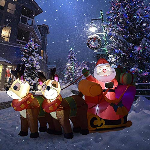 5.9ft Long Inflatable Christmas Santa Claus On Sleigh With Reindeer Yard Decoration Lights Indoor Outdoor Decoration Christmas Decorations Lighted Yard Decoration