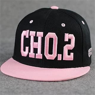 100% Cotton Embroidered Punk Rock Running Man Song Ji-hyo Style Baseball Adjustable Hat Cap(cho.2 Black)