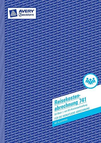 Avery Zweckform 741 Reisekostenabrechnung, DIN A4, für monatliche Abrechnung, 50 Blatt, weiß 10 Stück