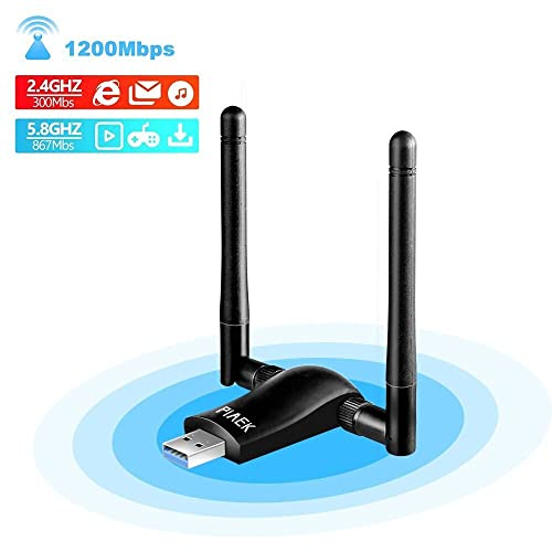 WiFi USB,PiAEK 1200Mbps Adaptador WiFi, USB 3.0 Antena WiFi,Dual Band 5.8Ghz/2.4Ghz para PC con Windows 10/8/7/Vista/XP Mac OS