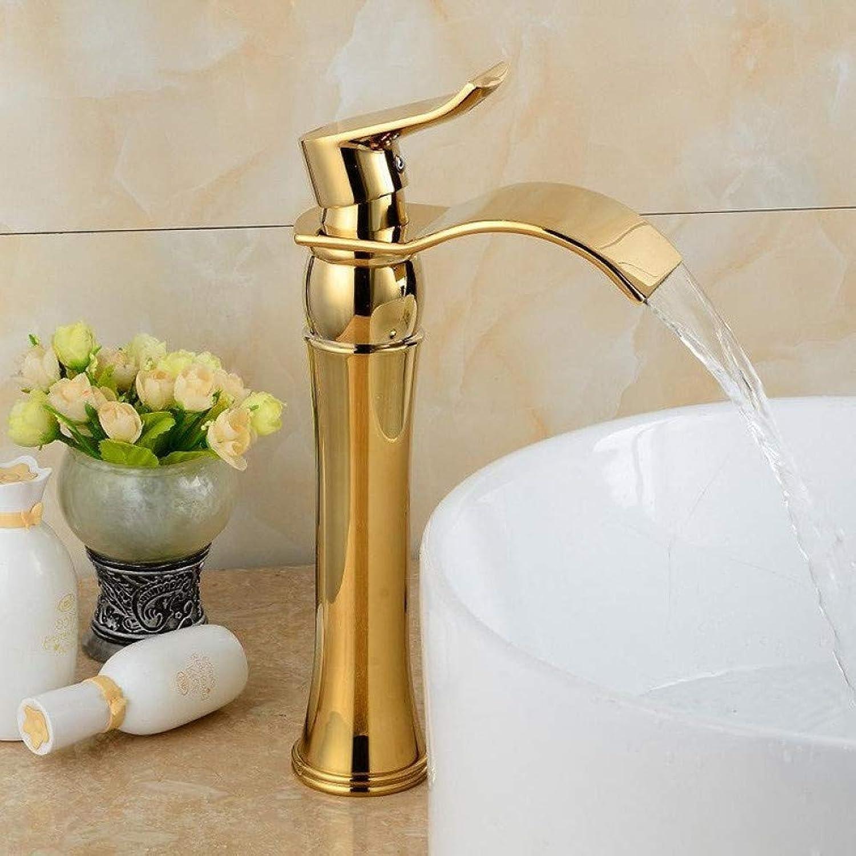 YHSGY Waschtischarmaturen Gold Becken Wasserhahn Messing Waschbecken Mischbatterie Bad Hot & Cold Wasserfall Wasserhahn Einhand-Wasserkran