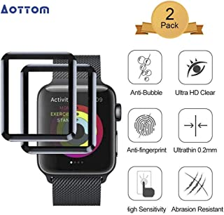[2 Pack] Screen Protector for Apple Watch 42mm Aottom 3D Curved Edges Full Coverage iWatch Series 3/2/1 Screen Protector Carbon Fiber Frame Edge Tempered Glass Film for 42mm Apple Watch Series 3/2/1