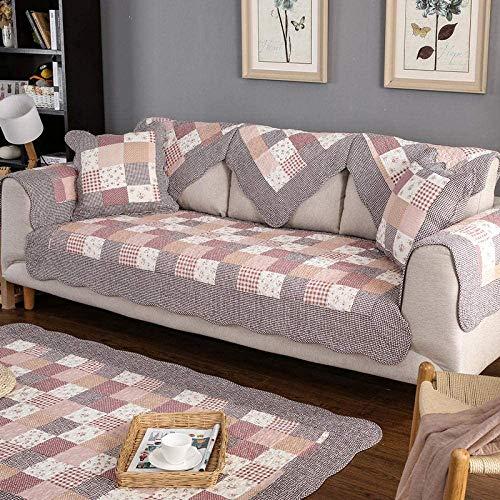 fundas protectoras de muebles Habitación,Fundas de sofá de estilo rústico para sala de estar,funda de sofá universal de 2/3/4 plazas,protector de sofá acolchado de algodón-Frijol rojo_Funda de almoha