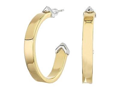 AllSaints Arrow Flat Hoop Earrings (Gold/Rhodium) Earring