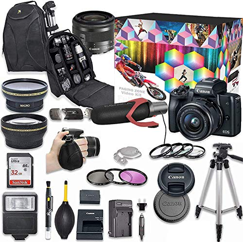 Canon EOS M50 Mirrorless Digital Camera with 15-45mm Lens Video Kit (Black) + Wide Angle Lens + 2X Telephoto Lens + Flash + SanDisk 32GB SD Memory Card + Accessory Bundle