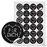 48 runde AUFKLEBER HERZ schwarz rot weiß FÜR DICH VON MIR DEINS Geschenkaufkleber Kreidetafel-Look...