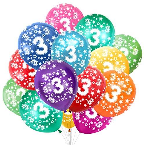 Globo Número 3, Cumpleaños Globos 3 Años, 3 Cumpleaños Decoración Globos Niño,Colores Globos Numeros 3 Fiesta Decoración para Feliz Cumpleaños,30 cm-Paquete de 30