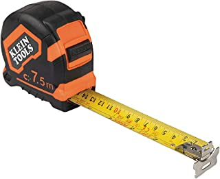 Klein Tools 9375 Measuring Tape, 7.5 m Double-Hook Double-Sided Tape Measure, Magnetic with Retraction Speed Break and Met...