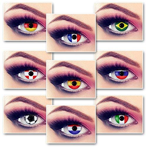 Preisvergleich Produktbild Taffstyle® Farbige Linsen Fanartikel Kontaktlinsen Fussball Weltmeisterschaft 2014 WM & EM Länder Style Jahreslinsen - Spanien