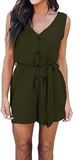 5808d86bb2 Style Dome Combishort Femme Romper Jumpsuit d'été Short Femme Chic Taille  Haute Pantalons Large