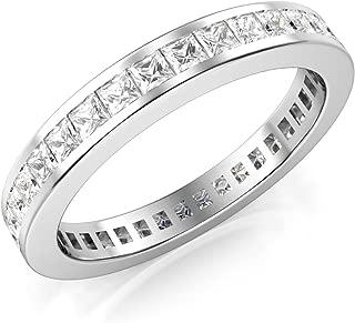 3MM Sterling Silver Princess Cut CZ Eternity Cubic Zirconia Ring