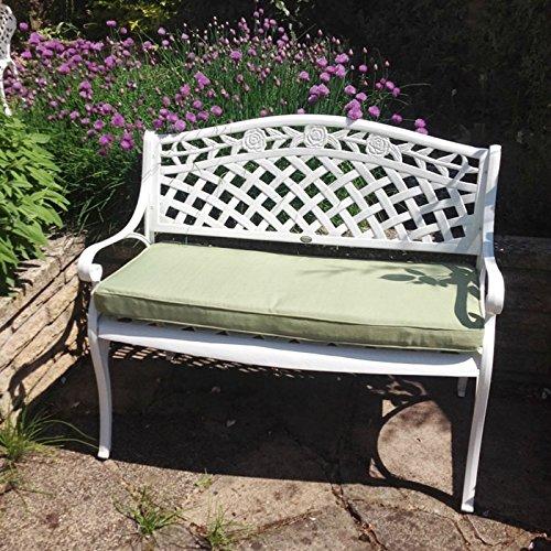 Lazy Susan - Rose Gartenbank aus Aluminium, Weiß (Grünes Kissen)
