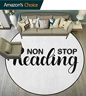 Book Children Play Rugs Non Stop Reading Phrase with Hand Painted Lettering Typography on White Background Shaggy Carpet Black White Diameter-59