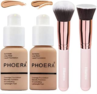 Phoera Foundation,Foundation Brush,2 Pcs Liquid Foundation 30ml Natural Moisturizing Highlighting Matte Oil Control Concealer Facial Blemish Concealer Color Changing Phoera Foundation for Women Girls