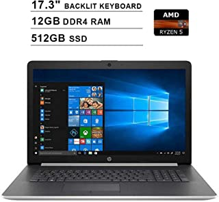 2019 Newest HP Premium Pavilion 17.3 Inch Touchscreen Laptop (AMD 4-Cores Ryzen 5 3500U up to 3.7 GHz, AMD Radeon Vega 8, 12GB DDR4 RAM, 512GB SSD, Backlit KB, DVDRW, WiFi, HDMI, Windows 10)