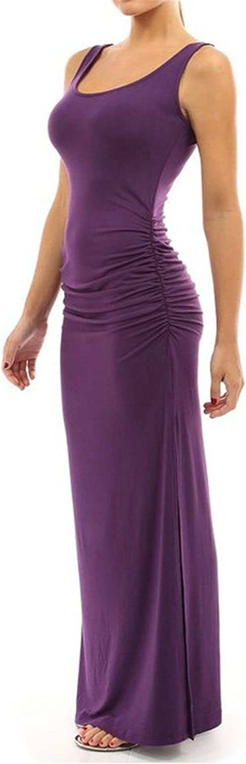WIWIQS Women's shipfree Ruched Sleeveless Side Long Max 49% OFF Party S-2 Split Dress