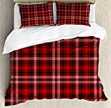 Ambesonne Plaid Duvet Cover Set, Nostalgic Striped Pattern from British Country with Constrasting Colors, Decorative 3 Piece Bedding Set with 2 Pillow Shams, King Size, Scarlet Black