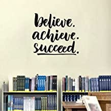 Rawpockets 'Believe Achieve Succeed' Wall Sticker (PVC Vinyl, 1 cm x 50 cm x 45 cm, Black)