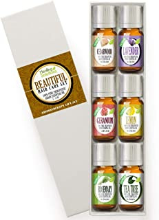 Healing Solutions Beautiful Hair Set 100% Pure, Best Therapeutic Grade Essential Oil Kit - 6/10mL (Cedarwood, Lavender, Geranium, Lemon, Rosemary, and Tea Tree)