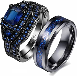 Couple Ring Bridal Set His Hers Black Gold Filled Cz Stainless Steel 10k Wedding Ring Band