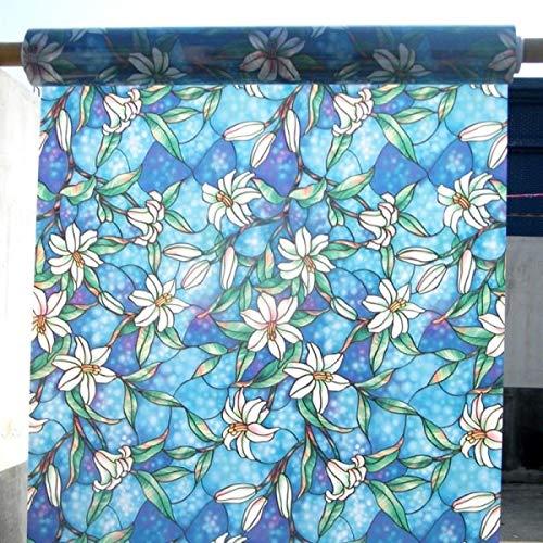 LMKJ Película de Ventana de Vidrio de Flor de Magnolia Azul,película de Vidrio de Flor de orquídea autoadhesiva electrostática,Pegatina de Ventana A88 50x200cm