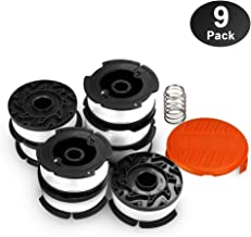 "OFPOW Line String Trimmer Replacement Spool 30ft 0.065"" for Black+Decker Weed Eater, Replacement Autofeed Spool, Compatible with Black & Decker AF-100, 9-Pack (8 Replacement Spool, 1 Trimmer Cap)"