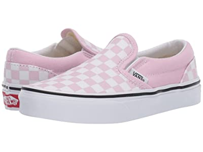 Vans Kids Classic Slip-On (Little Kid/Big Kid) ((Checkerboard) Lilac Snow/True White) Girls Shoes