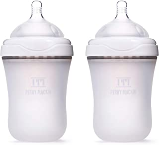 Perry Mackin - Silicone Baby Bottle (2 Pack - White, 9 oz)