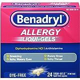 Benadryl Antihistamine Allergy Medicine & Cold Relief, Dye-Free LIQUI-GELS Tablets, Liquid Gels, 24 Count - Pack of 3