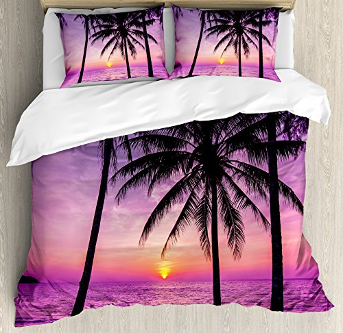 Ambesonne Ocean Duvet Cover Set, Palm Trees Silhouette at Sunset Dreamy Dusk Warm Exotic Twilight Scenery Image, Decorative 3 Piece Bedding Set with 2 Pillow Shams, Queen Size, Purple Black