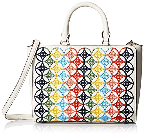 Tory Burch Women's Robinson Embroidered Small Zip Tote, Ivory/Multi