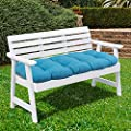 """Sweet Home Collection Patio Chair Cushions Outdoor Loveseat Lounge Seat Pads Premium Comfortable Thick Fiber Fill Tufted 44"""" x 19"""", Teal"""