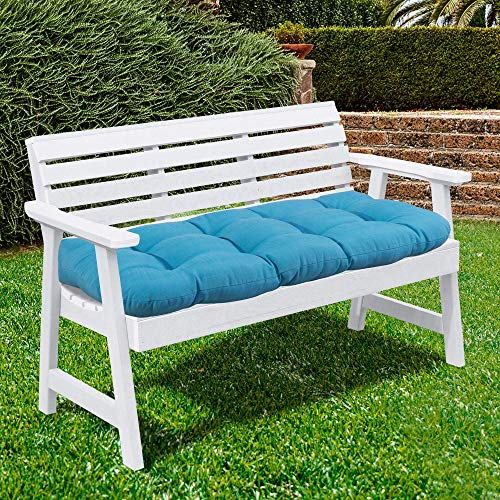 Sweet Home Collection Patio Chair Cushions Outdoor Loveseat Lounge Seat Pads Premium Comfortable Thick Fiber Fill Tufted 44' x 19', Teal
