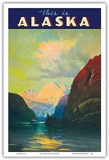 This is Alaska - Along Alaska's Sheltered Seas - The Alaska Line - Alaska Steamship Company - Vintage Ocean Liner Travel Poster by Sydney Laurencec.1930 - Master Art Print - 12in x 18in