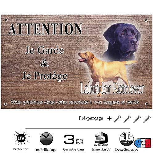 Pets-Easy.com Attention Chien de Garde personnalisée Labrador Noir - pré percée et vis fournies. De 30 cm à 15 cm…