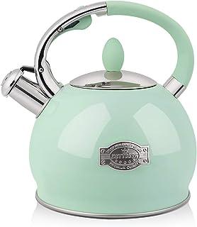 RETTBERG 2.64-Quarts Tea Kettle for Stovetop Food grade stainless steel Teapot with Ergonomic Handle,1 Free Heat-Resistant...